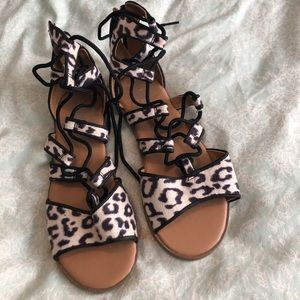 Animal print gladiator sandals.